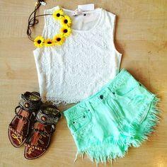 Sleeveless Crop Top & Cute shorts : Girly Tumblr Fashion