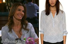 I'm a Soap Fan: Hope Brady's Grey Lace Print Silk Blouse - Days of Our Lives, Season 51, Episode 04/22/16, Kristian Alfonso, #DOOL Fashion, Clothing worn on #DaysofOurLives