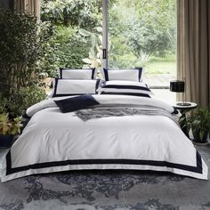 These Hotel Luxury White Egyptian Cotton Bedding Sets are Amazing. If you love luxury bedding look no further! Grey Comforter Sets Queen, King Size Bedding Sets, King Size Duvet Covers, Cheap Bedding Sets, Cotton Bedding Sets, Bed Linen Sets, Luxury Bedding Sets, White Bedding, Duvet Sets