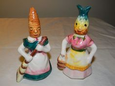 VTG Anthropomorphic Salt Pepper Shakers Carrot Pineapple Lady Women Aprons JAPAN