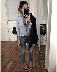 """Audrey Lombard op Instagram: """"L'autre soir c'était donc jean, talons et une chemise bleue @onestepofficiel. • Earring #margidarika (on @shopinsidecloset) • Jacket…"""""""