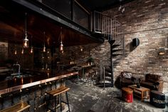 Checkout this rather cool bar located in Sydney, Australia. Donny 's Bar was designed by Luchetti Krelle and resembles a New York loft with its high ceilings New York Loft, Ny Loft, Bar Interior Design, Loft Design, Cafe Interior, Interior Ideas, Cozy Restaurant, Restaurant Design, Vintage Restaurant