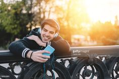 Stock Photo : Man listening to the music