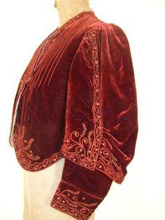 Superb Antique Vtg 1900s Edwardian Burgundy Velvet Jacket