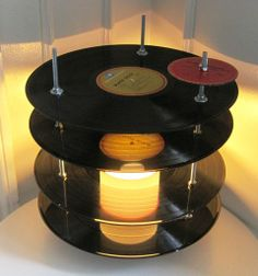 Vinyl record lamp made with upcycled vinyl records.