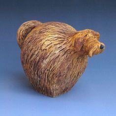 Hand-built ceramic with underglaze. Ceramic Animals, Clay Animals, Garden Totems, Animal Sculptures, Gourds, Clay Art, Dog Life, Ceramic Pottery, Nature Photography