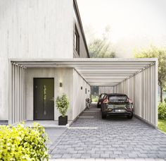 Get inspired by photo about carport ideas attached to house. best custom wood carport & open carport design for your lovely home. Carport Designs, Garage Design, Exterior Design, Interior And Exterior, Carport Modern, Modern Garage, Carport Garage, Pergola Carport, Carport Sheds