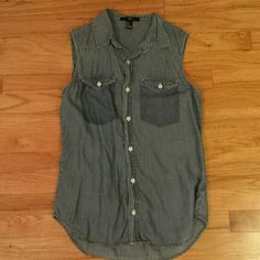 Forever 21 Chambray Denim Button Down Tank Blouse Excellent condition. Forever 21 Tops Tank Tops