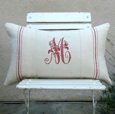 French Monogrammed Antique Grain Sack Linen by LudwigasLinen. I have a vintage beautiful embroidered tablecloth that I can repurpose! Can't wait to have the free time to do this. Monogram Pillows, Pillow Inspiration, Embroidery Monogram, Grain Sack, Unique Christmas Gifts, Linens And Lace, Slipcovers, Machine Embroidery, Burlap