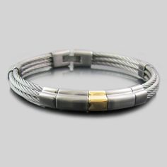 Multi Cable Bangle // Gunmental + 18K Gold Plated