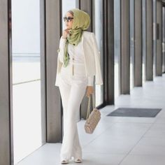 classy white hijab suit