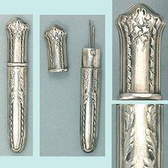 Antique French Silver Hallmarked Needle Case; Circa 1890's