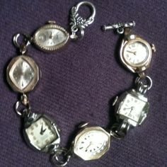 """This is a bracelet I made from vintage watch faces. It's a good idea to use two jump rings between the faces and a """"small"""" split ring on the clasp to make sure everything is secure!"""