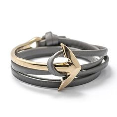 Gold Anchor Half-cuff On Premium Leather Bracelet
