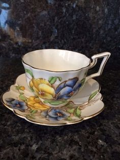 Vintage Signed SALISBURY Bone China Hand painted Pansy Pattern Cup & Saucer 2336 #SalisburyChina