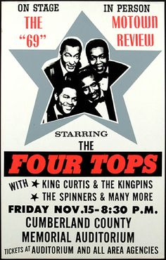 1969 Four Tops Concert Poster