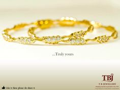 Truly yours Diamonds set in Gold. #Diamondjewellery #dailywearjewellery #gold #diamondbangle #diamonds #bangle #tbjewellery #goldenmoments #valentinesgift #goldjewellery #22Kt #closesetting #916