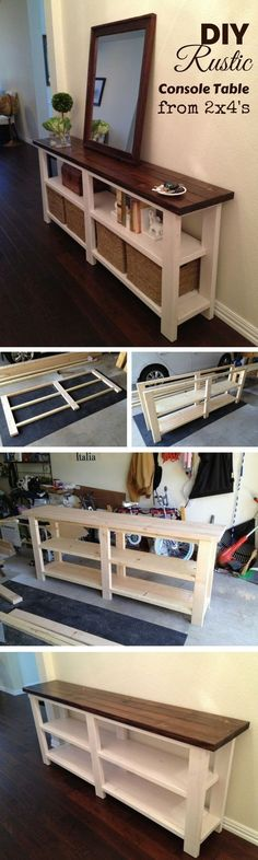 Woodworking Diy Projects By Ted - Check out how to make a DIY wooden rustic console table from 2x4s Industry Standard Design (Diy House Wood) Get A Lifetime Of Project Ideas & Inspiration!