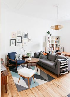 Small Space Living Room In Berlin From Herz Und Blut (via // Geometric Rug  And Furniture. A Fab Mid Century ...