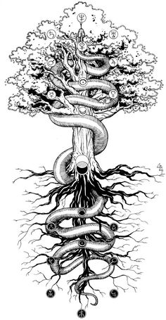 Tree of life kabbalah tattoo 60 ideas Yggdrasil Tattoo, Norse Tattoo, Viking Tattoos, Caduceus Tattoo, Kunst Tattoos, Tattoo Drawings, Art Drawings, Life Tattoos, Body Art Tattoos