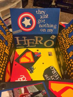 Super Hero deployment care package for my boyfriend. He's my Air Force Hero Soldier Care Packages, Deployment Care Packages, Soldier Care Package Ideas, Cute Gifts, Diy Gifts, Christmas Care Package, Missionary Packages, Military Deployment, Deployment Gifts