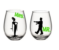 His and Her Wine Glasses, Cute Wine Glasses, Wine Glass Set, Frankenstein by SiplySophisticated on Etsy
