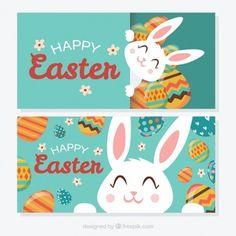 Banners de bonito conejito de pascua feliz . Happy Easter.