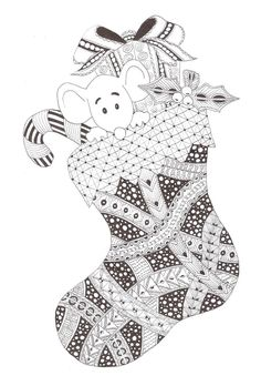 Christmas stocking Zentangle made by Mariska den Boer 79 Tangle Doodle, Doodles Zentangles, Zen Doodle, Zentangle Patterns, Doodle Art, Doodle Coloring, Colouring Pages, Adult Coloring Pages, Coloring Books