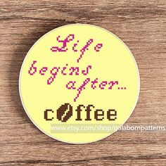 Coffee quote  PDF Counted cross stitch pattern by galabornpatterns