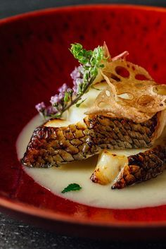 This stunning Chilean sea bass recipe from Hideki Hiwatashi is drenched in a fantastic miso sauce made with Champagne, yuzu and white miso. A fantastic fish recipe which is bound to impress. Fish Recipes, Seafood Recipes, Cooking Recipes, Whole30 Recipes, Chilean Sea Bass, Great British Chefs, Mets, Fish Dishes, Gastronomia