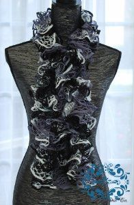 Limited Time...soft Hand-knit Lacy Ruffled Scarf.perfect for Gift Giving by Madeline and Company. $29.95. Color: Vintage Grey. Combination of White, shades of grey, and black. shades of green and gold