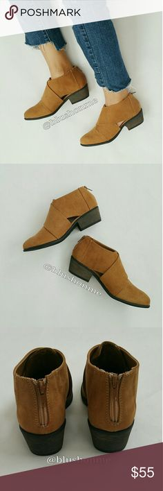 """Cut Out Booties - Camel @blushonme at Poshmark   Cut Out Vegan Suede Booties - Camel  Featuring a strap look with peek a boo side cut out.  True to size  Heel - 1.5""""  ● PRICE IS FIRM ● Shoes Ankle Boots & Booties"""