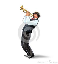 Trumpeter, Musician plays the trumpet jazz. Trumpeter on white background. Digital illustration and Hand drawing. For Art, web, print, wallpaper, greeting card, textile, fashion, fabric, texture, Home decor and more graphic design.