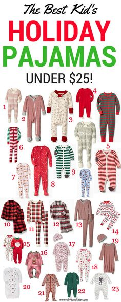 edfbb9c915 Olive and Tate  The Best Kid s Holiday Pajamas Under  25! Holiday pajamas  for baby