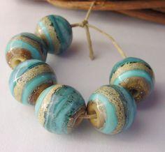 Handmade Lampwork Beads  Organic Turquoise Glass by LyndasLampwork, $22.00