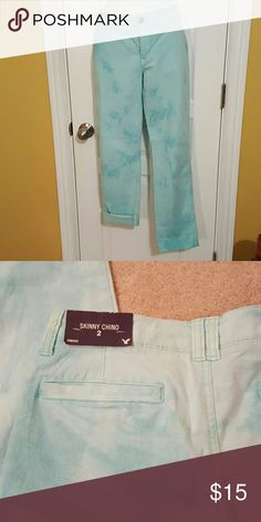 American Eagle skinny chino Unique wash. Aqua color. So soft. American Eagle Outfitters Pants Trousers