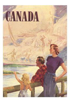 Canada Family on Bridge Premium Poster