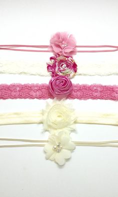 Baby Headband Set  Rose and Pearl collection by Simpletreeboutique