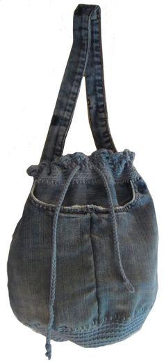 Crochet and denim handbag