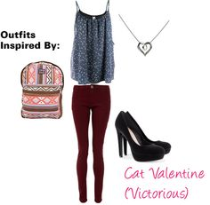 Outfits Inspired By: Cat Valentine (Victorious) High School Fashion, Teen Fashion, Love Fashion, Fashion Looks, Fashion Outfits, Fashion Trends, Cat Valentine Outfits, Pretty Outfits, Cute Outfits