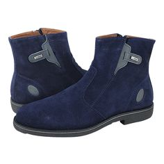 Loivre - GK Uomo Comfort Men's low boots made of suede with leather lining and synthetic outsole.  Available in Blue and Tobacco color.