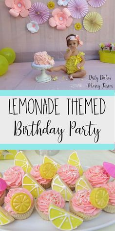 Lemonade Birthday Party-Who doesn't love pink lemonade and a good party? This party turned out so cute and we will show you exactly how to do it. Decorations, food, cake and more ideas on this post. 1 Year Old Birthday Party, 50th Birthday Party Decorations, Fruit Birthday, Girls Birthday Party Themes, Girls Tea Party, First Birthday Parties, First Birthdays, Birthday Recipes, Birthday Ideas