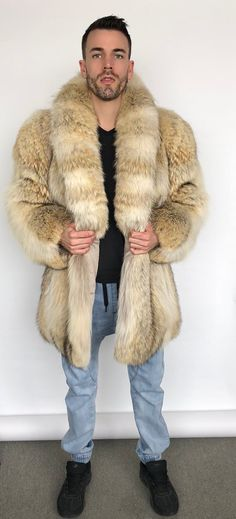 Mens Fashion For Sale Coyote Fur Coat, Fur Fashion, Mens Fashion, Thrift Store Outfits, Vintage Outfits, Vintage Fashion, Mens Fur, Outdoor Apparel, Vintage Fur