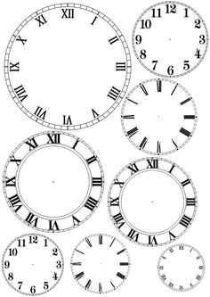 Clock faces - use pattern to enlarge when making a clock from a pallet or any surface requiring you to trace the numbers onto the face