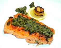 grilled salmon with mint-basil pesto