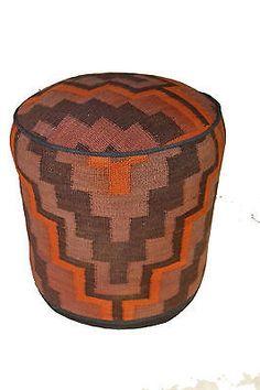 Rug Pouf / Rug Sitting Stool Ottoman made of vintage kilim rug # 23