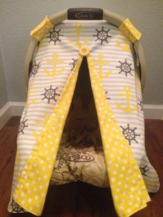 Nautical Anchor carseat canopy cover tent by LilacsAndLeopards