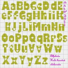 Cross Stitching, Cross Stitch Embroidery, Cross Stitch Letters, Alphabet Design, Perler Bead Art, Tapestry Crochet, Alphabet And Numbers, Loom Beading, Stitch Patterns