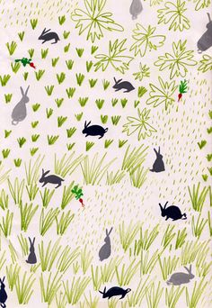 Pattern - Imogen Rockley Illustration, drawing, doodle, rabbits, hare, nature, garden, design, repeat, mark making