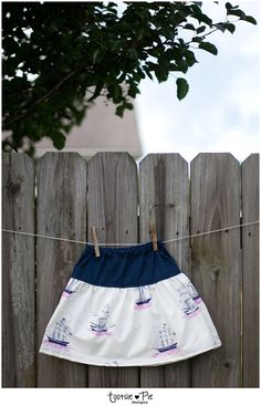 Handmade TODDLER Skirt in Navy Blue and Sailboats via Etsy